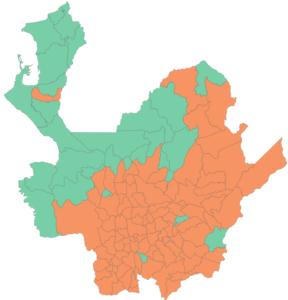 El Sí (verde) y No (naranja) en Antioquia.